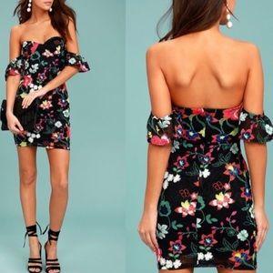 Lulu's Off the Shoulder Black Lace Floral Dress